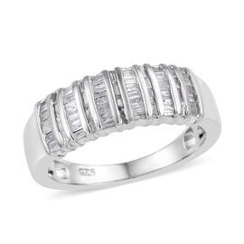 0.33 Carat Diamond Band Ring in Platinum Plated Sterling Silver