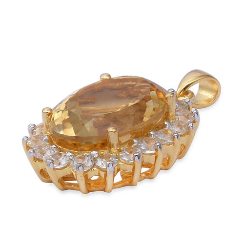 Brazilian Extremely Rare Size Citrine (Ovl 18x13 mm, 10.00 ct), Natural Cambodian Zircon Pendant in 14K Gold Overlay Sterling Silver 15.00 Ct.