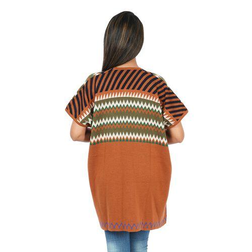 Chevron and Stripe Print Knit Duster Kimono (L: 89cm, W: 71cm) - Olive Colour