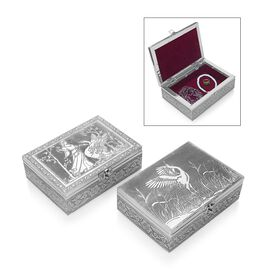 Set of 2 - Lady with Swan and Swan Embossed Storage Box (Size 17.7x12.7x5 Cm) with Velvet Lining