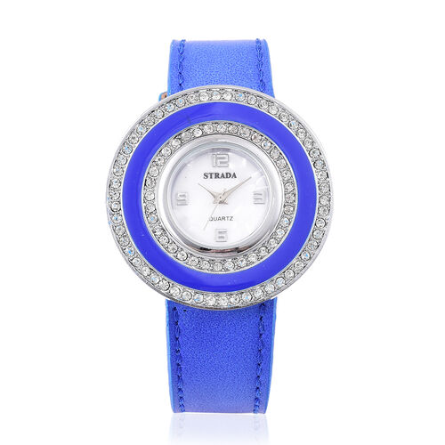 Time Piece Pick Of the Show Deal - STRADA Japanese Movement Mother of Pearl Watch With Interchangeable Bezels - Blue Strap