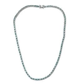 19.50 Ct Grandidierite Tennis Necklace in Platinum Plated Sterling Silver 19 Grams 18 Inch