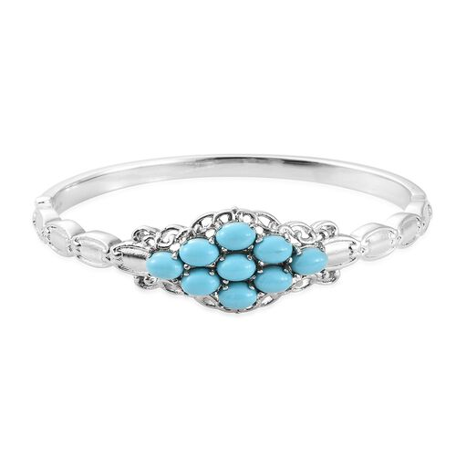 Blue Howlite (Ovl 7x5 mm) Bangle (Size 7.5) in Ion Plated Stainless Steel  6.000 Ct.