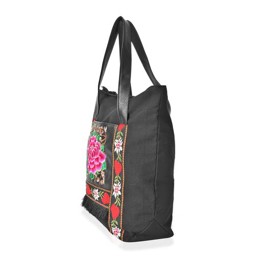 Shanghai Collection- Pink, Black and Multi Colour Floral Embroidered Tote Bag (Size 41.5x33.5x15 Cm)