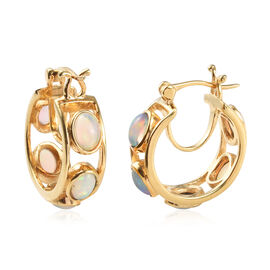 3 Carat Ethiopian Welo Opal Hoop Earrings in Gold Plated Sterling Silver 7.30 Grams