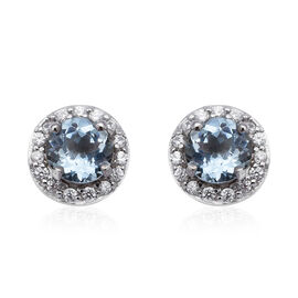 Santa Teresa Aquamarine and Natural Cambodian Zircon Stud Earrings (with Push Back) in Rhodium Overl