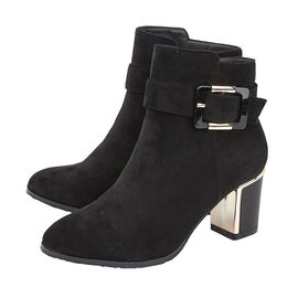 Lotus CHARLOTTE Heeled Ankled Boots with Buckle in Black Colour