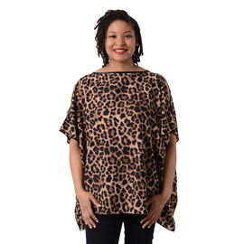 Leopard Print Blouse with Open Shoulder Design in Brown (Free Size / Length72 cm)