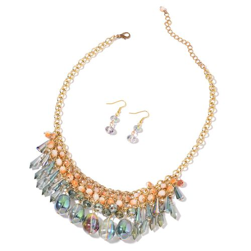 Simulated Mystic Topaz, Green and Multi Colour Beads Necklace (Size 18 with 2 inch Extender) and Hook Earrings in Yellow Gold Tone