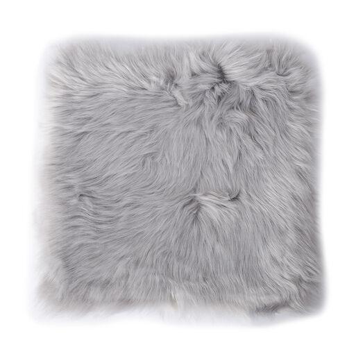 Set of 2 - Luxury Shaggy Pile Super Deep Faux Sheep Skin Cushion Covers (Size 45x45 Cm) Grey