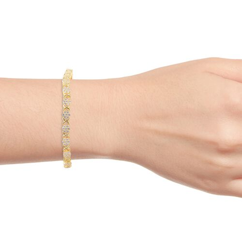ELANZA Simulated Diamond (Rnd) Criss Cross Floral Bracelet (Size 7.5) in Yellow Gold Overlay Sterling Silver, Silver wt 11.48 Gms