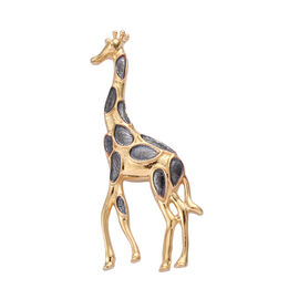 14K Gold and Black Overlay Sterling Silver Giraffe Pendant