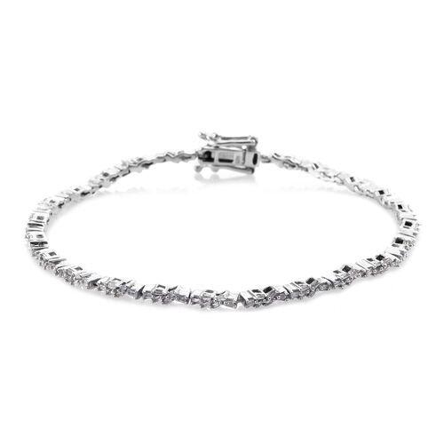 Diamond (Bgt) Bracelet (Size 7.5) in Platinum Overlay Sterling Silver 0.750 Ct. Silver wt 7.59 Gms.