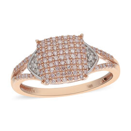 9K Rose Gold Natural Pink Diamond and White Diamond Ring 0.50 Ct.