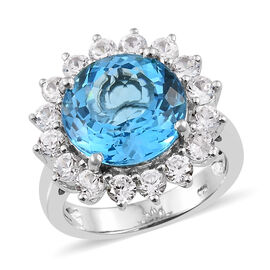 TJC Launch - 16 Carat Marambaia Topaz and Natural Cambodian Zircon Halo Ring in Platinum Plated Silv