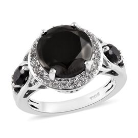 3.25 Ct Elite Shungite and Multi Gemstone Halo Ring in Platinum Plated Sterling Silver