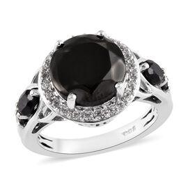 Elite Shungite (Rnd), Natural Cambodian Zircon and Boi Ploi Black Spinel Ring in Platinum Overlay St