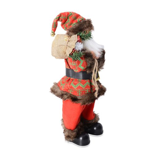 Christmas Decorations Singing Santa Claus Decor With Gift Bag (Size 53x15 Cm) (Needs 3 AAA Batteries)