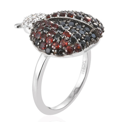 GP Mozambique Garnet (Rnd), Boi Ploi Black Spinel, Natural White Cambodian Zircon and Multi Gemstone Ladybird Beetle Ring in Platinum Overlay Sterling Silver 5.450 Ct, Silver wt 5.45 Gms.