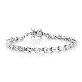 White Topaz (Pear), African Ruby Tennis Bracelet (Size 7.5) in Platinum Overlay Sterling Silver 13.2