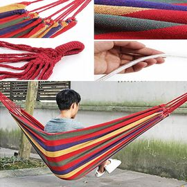 Indoor Outdoor Colourful Striped Camping Hammock (Size 1.85x80 Cm) - Red