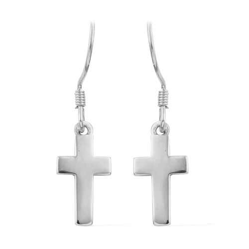 Platinum Overlay Sterling Silver Cross Earrings (with Hook)