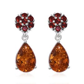 Baltic Amber (Pear), Jalisco Fire Opal Earrings (with Push Back) in Platinum Overlay Sterling Silver 3.000 Ct.