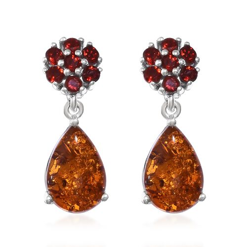 Baltic Amber (Pear), Jalisco Fire Opal Earrings (with Push Back) in Platinum Overlay Sterling Silver