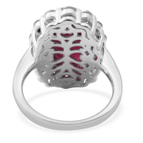 Extremely Rare Size African Ruby (Ovl 15x10 mm), Natural Cambodian Zircon Ring in Rhodium Overlay Sterling Silver 13.700 Ct,