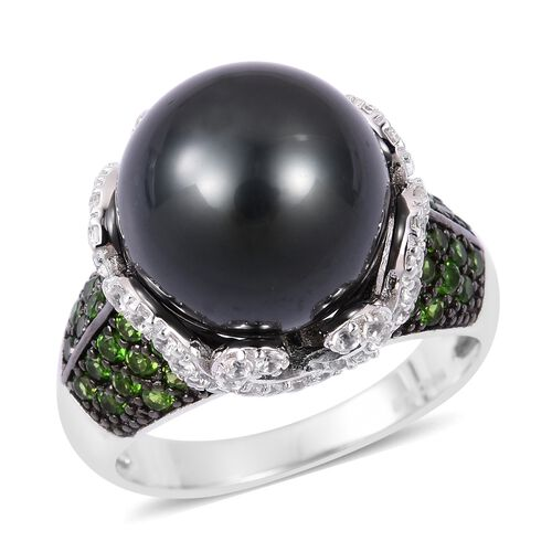 Collectors Edition 1.50 Ct Tahitian Pearl, Russian Diopside and Zircon Ring in Silver