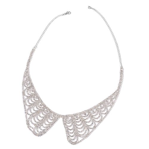 AAA White Austrian Crystal Collar Necklace (Size 17 with 5 inch Extender) and Dangling Earrings (with Push Back) in Silver Tone
