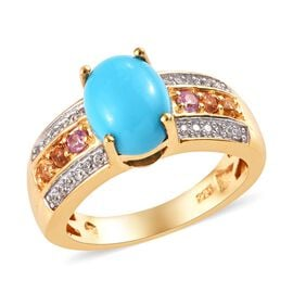 1.93 Ct Sleeping Beauty Turquoise and Multi Gemstone Ring in Gold Plated Sterling Silver 4.71 Grams
