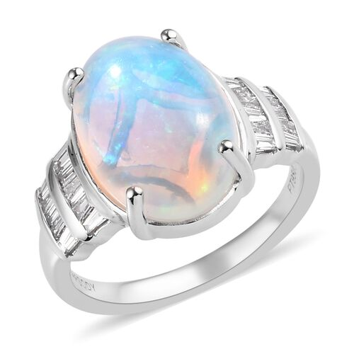 Close Out Deal- RHAPSODY 950 Platinum AAAA Ethiopian Welo Opal (Ovl 14x10mm) and Diamond Ring 4.300