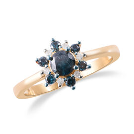 9K Yellow Gold SGL Certified White and Treated Blue Diamond (Rnd) (G-H/I3) Floral Ring 0.75 Ct.