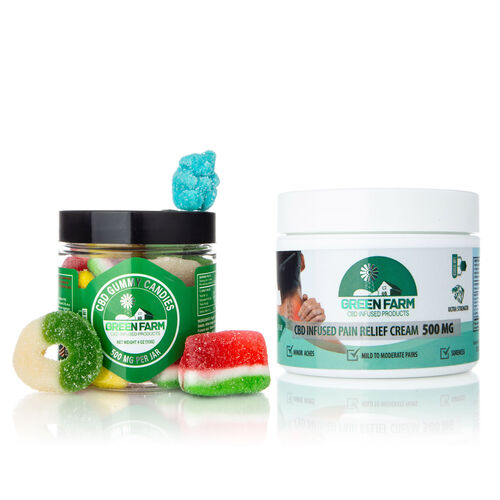 Green Farm CBD Pain Relief Cream 60ml (500MG) & Mixed Gummy Candy Jar 120ml