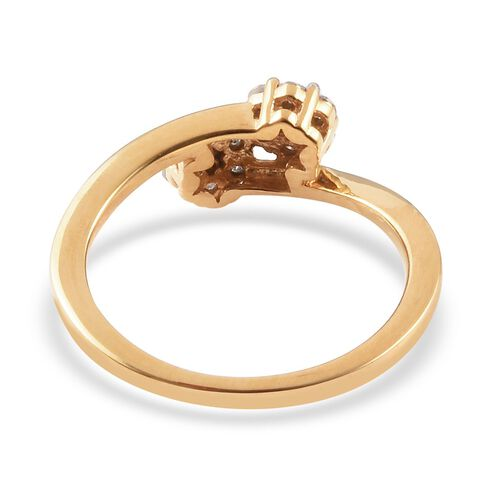Diamond Floral Bypass Ring in 14K Gold Overlay Sterling Silver 0.25 Ct.