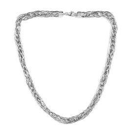 Vicenza Collection Prince of Wales Chain Necklace in Sterling Silver 20 Inch