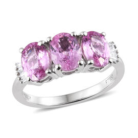RHAPSODY 2.75 Ct AAAA Pink Sapphire and Diamond 3 Stone Ring in 950 Platinum 4.44 Grams VS EF