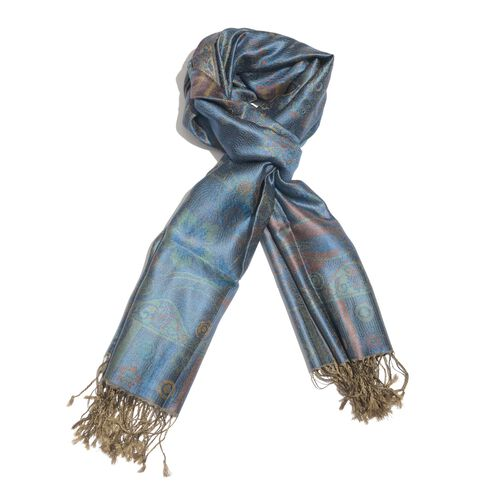 SILK MARK - 100% Superfine Silk Blue and Multi Colour Floral Pattern Jacquard Jamawar Scarf with Tassels (Size 180X70 Cm)