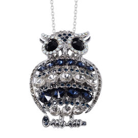 Multi Colour Austrian Crystal Owl Brooch or Pendant With Chain (Size 24) in Stainless Steel