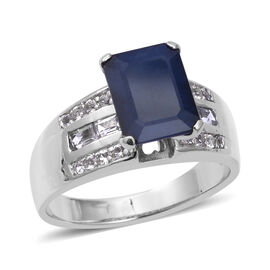 4.31 Ct Blue Sapphire and White Topaz Solitaire Ring in Sterling Silver 5.4 Grams