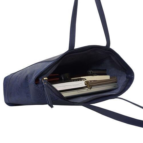 Assots London Animal Print Leather Tote Bag (Size 39x29x10.5cm) - Navy