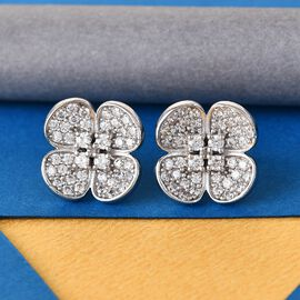 J Francis Platinum Overlay Sterling Silver Floral Earrings Made with SWAROVSKI ZIRCONIA 2.46 Ct.