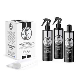 SHELBY Exterior 3 Pc Kit - Tyre Shine, Tyre Black and Rain Repellent with 2 X Applicators