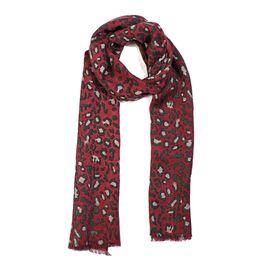 100% Merino Wool Leopard Pattern Scarf (Size 70x180 Cm) - Burgundy