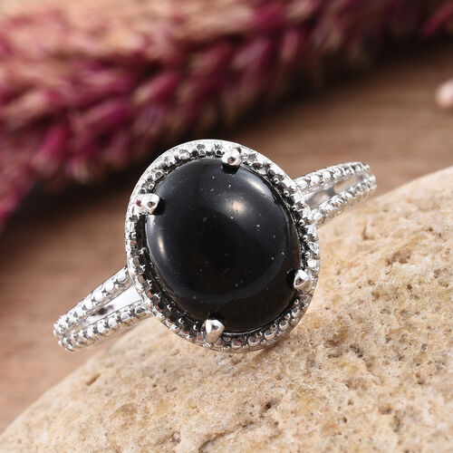 Shungite (Ovl) Solitaire Ring in Platinum Overlay Sterling Silver 4.000 Ct.