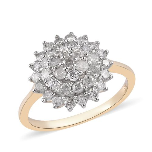 9K Y Gold SGL Certified Diamond (Rnd) (I3/G-H) Cluster Ring 1.00 Ct.
