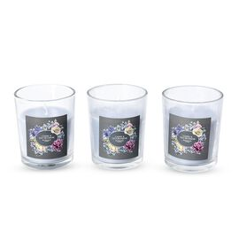 Set of 3 - Aromatic Candle and Glass Container (Size 5x6.5 Cm) with Gift Box (Cassis and Lily Blosso
