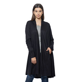 Duster Cardigan with Long Sleeves and Side Pockets in Black
