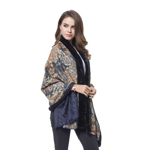 Black, Orange and Multi Colour Paisley Pattern Reversible Shawl with Faux Fur at Back (Size 180X80 Cm)